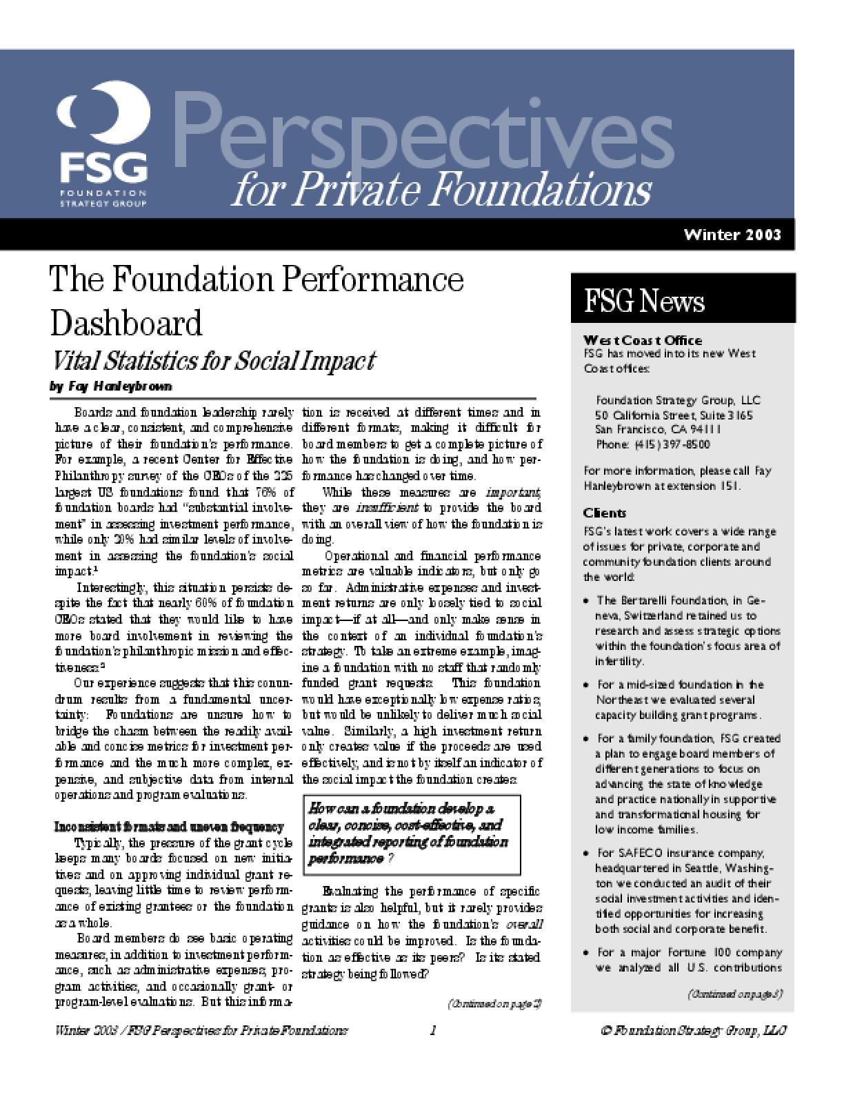 The Foundation Performance Dashboard: Vital Statistics for Social Impact