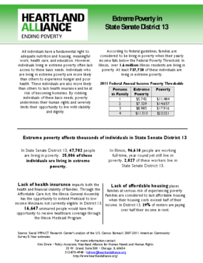 Illinois Senate District 13 Poverty Fact Sheet