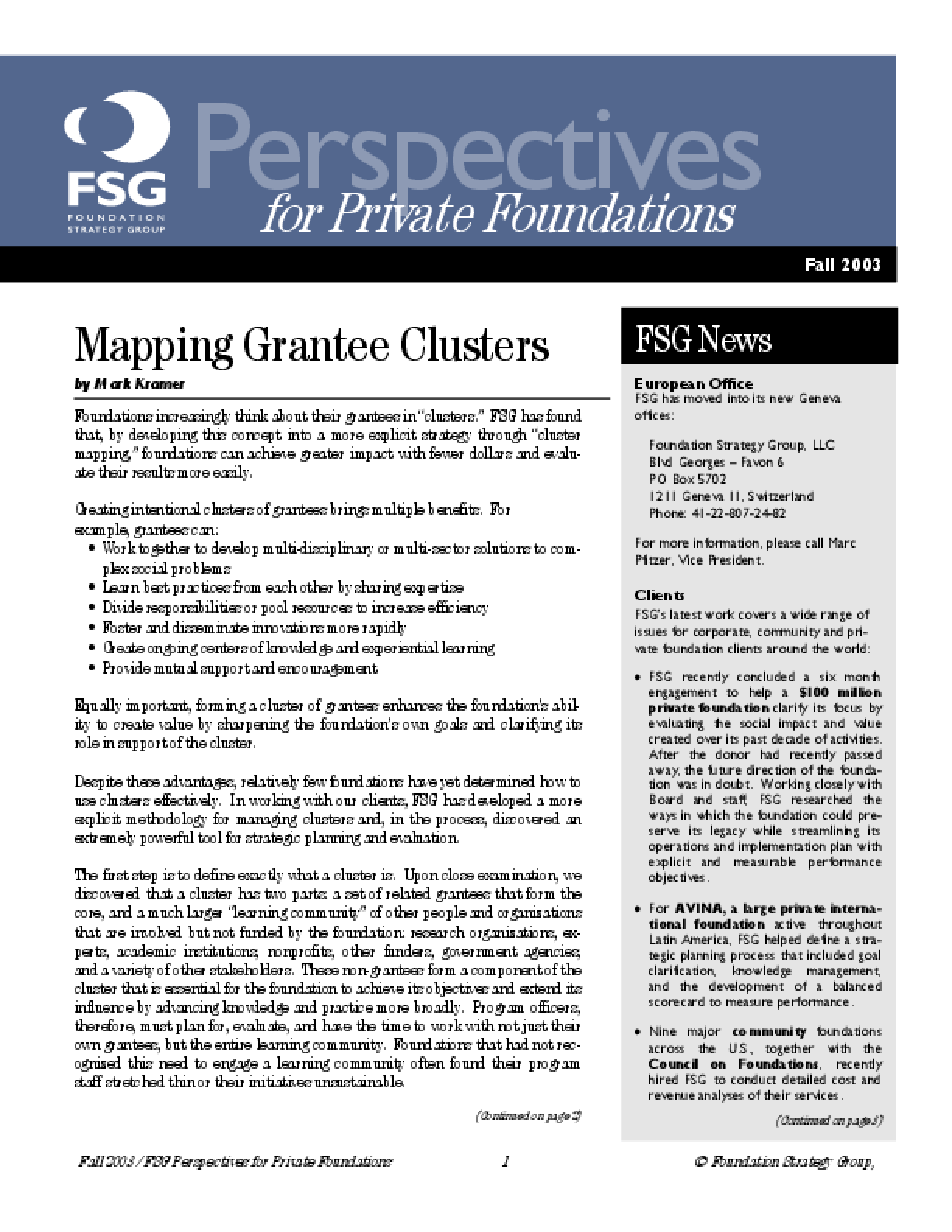 Mapping Grantee Clusters