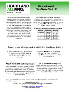 Illinois Senate District 21 Poverty Fact Sheet