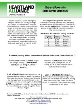 Illinois Senate District 23 Poverty Fact Sheet