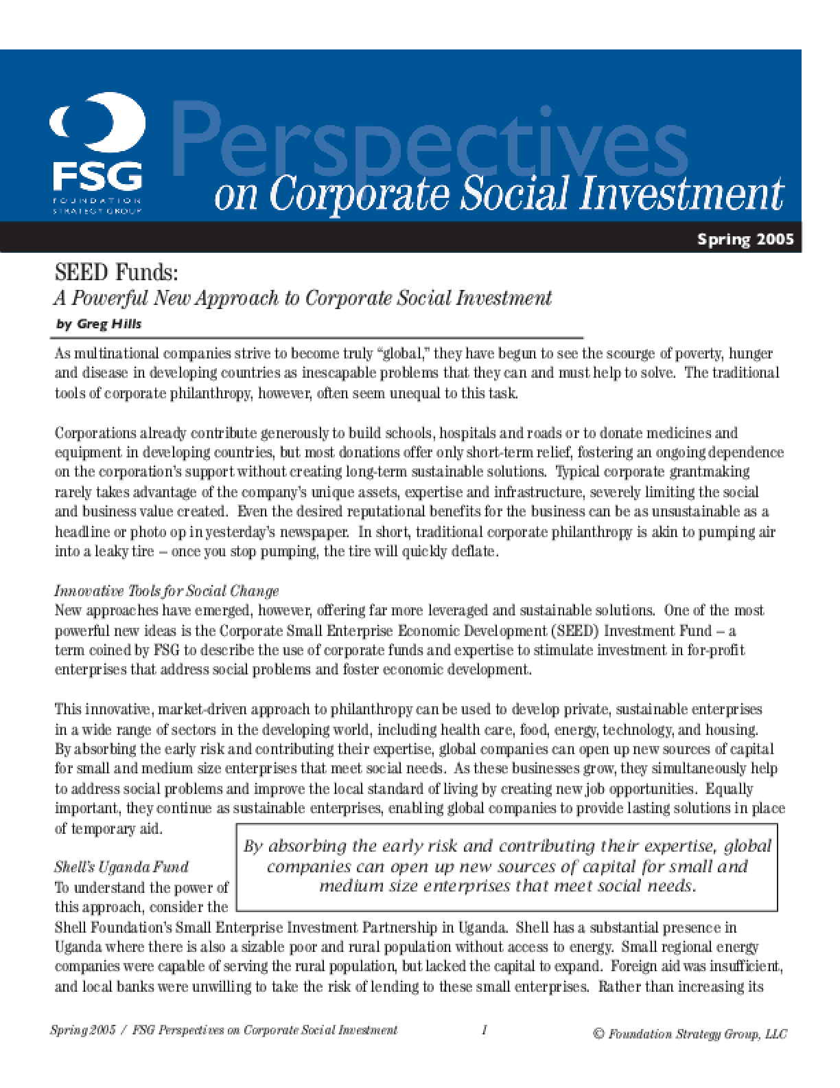 SEED Funds - A Powerful New Approach to Corporate Social Investment