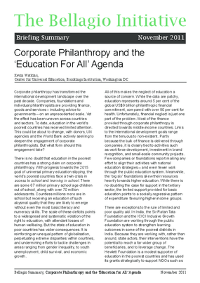 Corporate Philanthropy and the Education for All Agenda