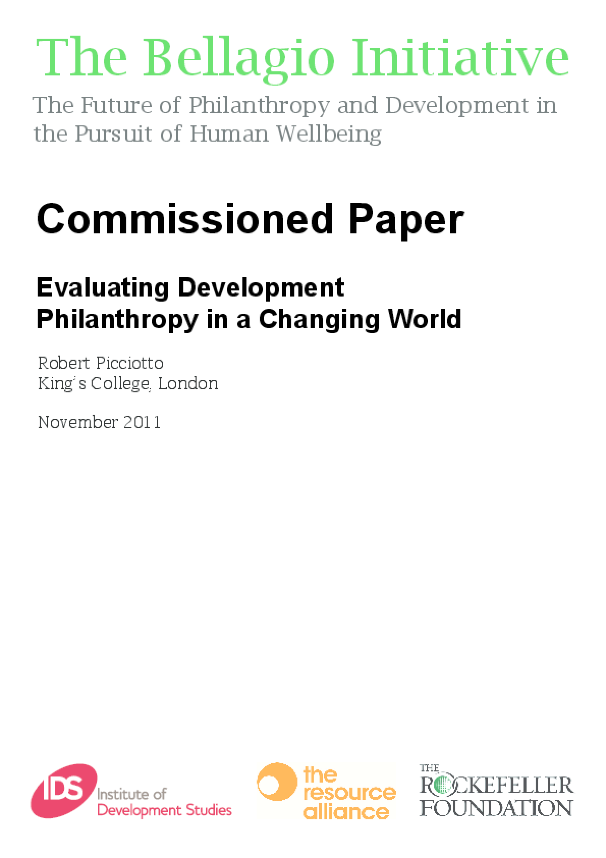 Evaluating Development Philanthropy in a Changing World