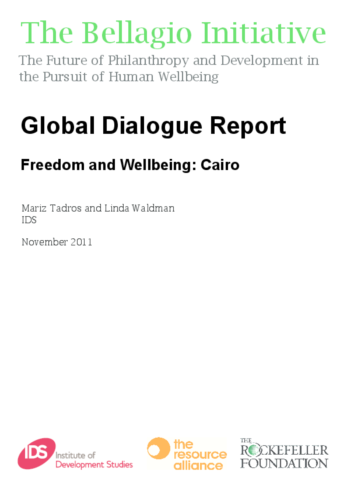 Global Dialogue Report - Freedom and Well-Being: Cairo