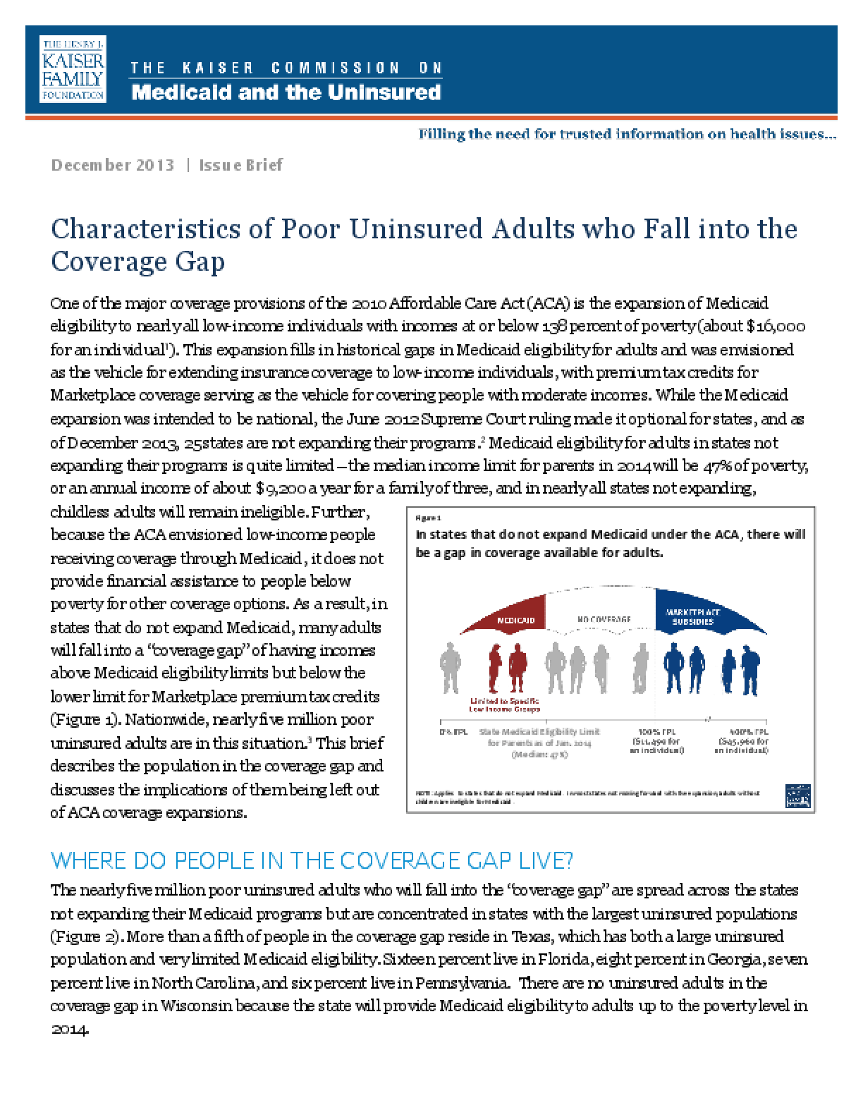 Characteristics of Poor Uninsured Adults who Fall into the Coverage Gap
