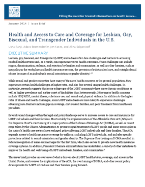 Health and Access to Care and Coverage for Lesbian, Gay, Bisexual, and Transgender Individuals in the U.S.