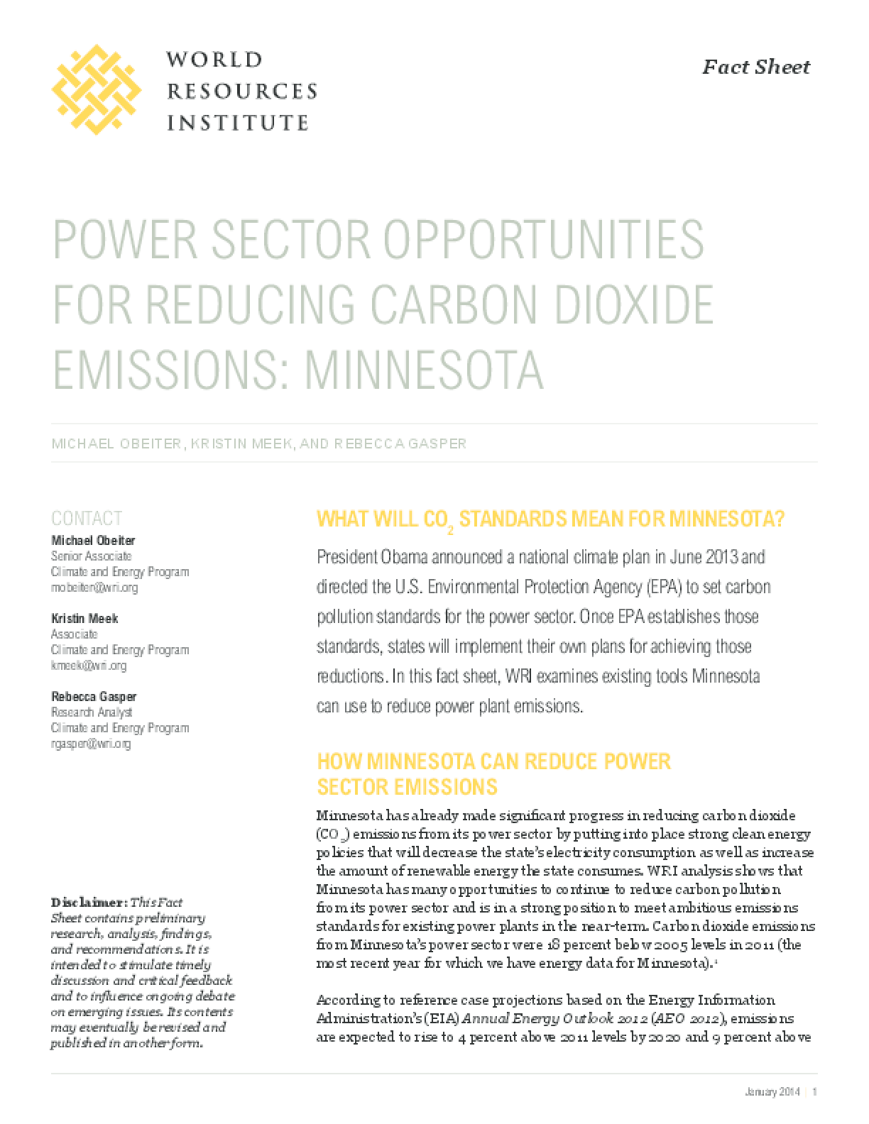 Power Sector Opportunities for Reducing Carbon Dioxide Emissions: Minnesota