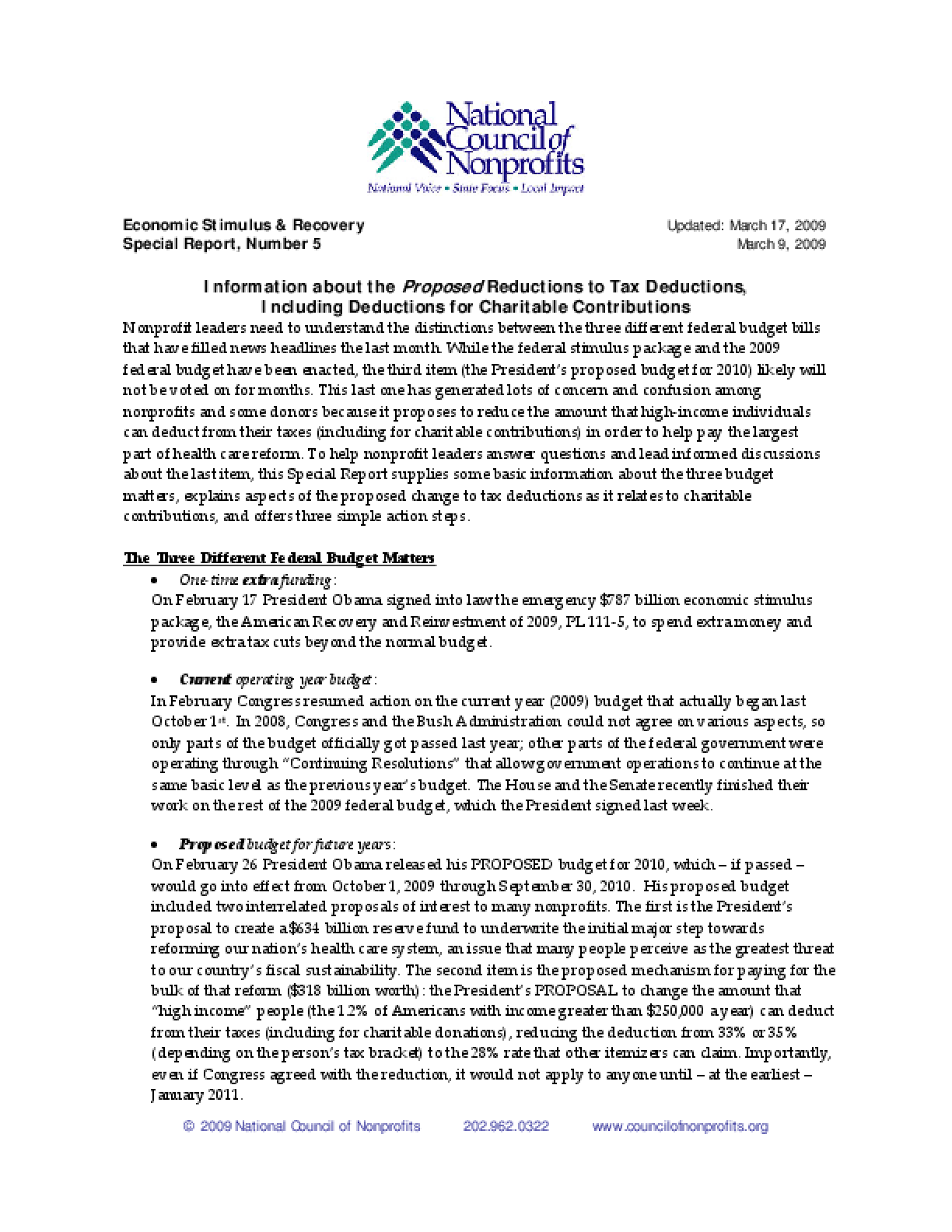 Information about the Proposed Changes in Charitable Deductions - Updated 3.17.09