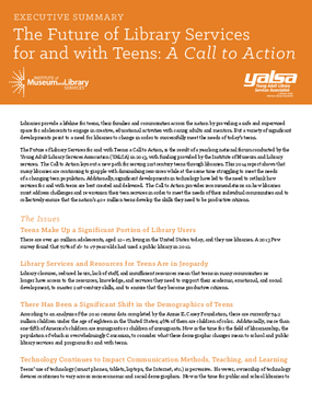 Executive Summary for The Future of Library Services for and with Teens: A Call to Action