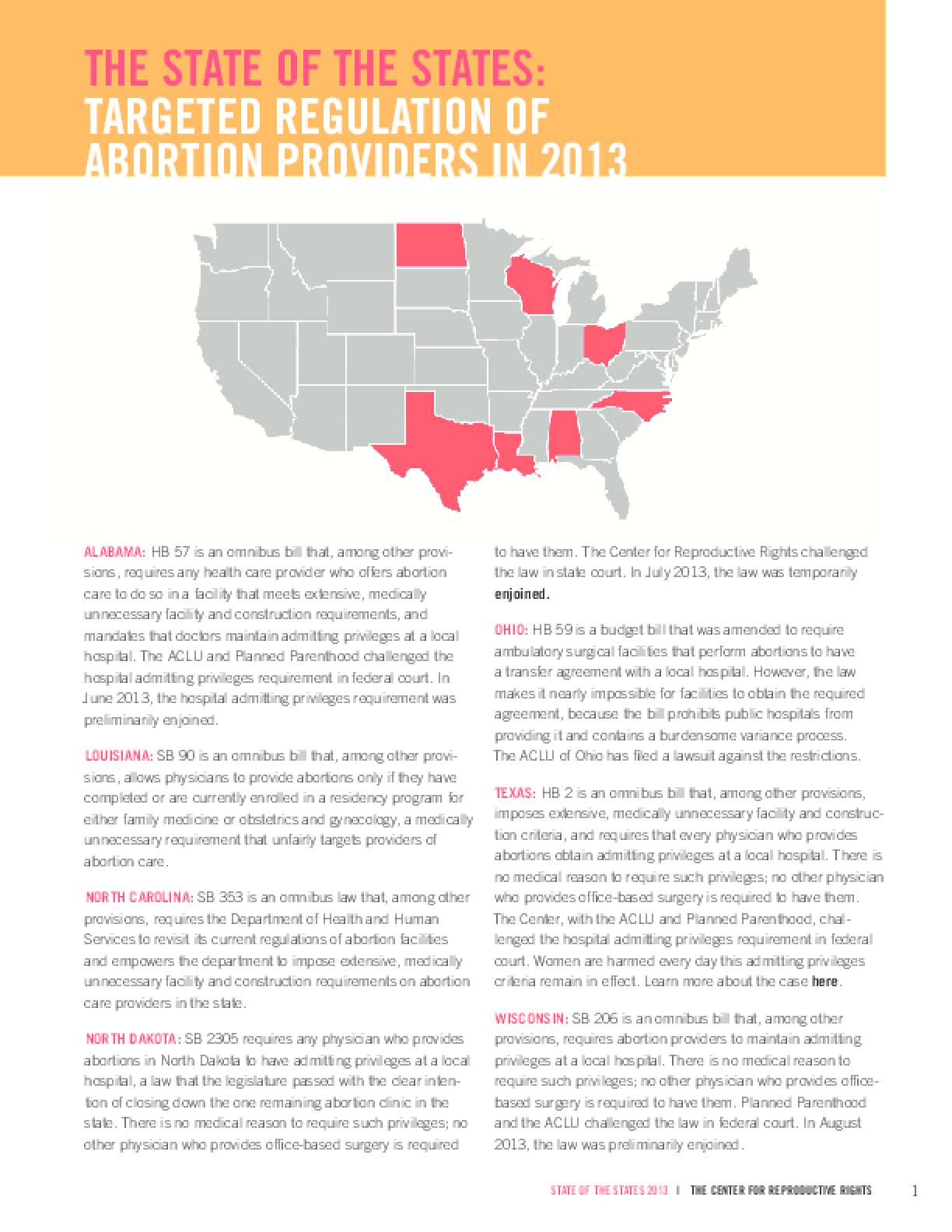 The State of the States: Targeted Regulation of Abortion Providers in 2013