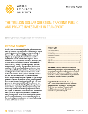 The Trillion Dollar Question: Tracking Public and Private Investment in Transport