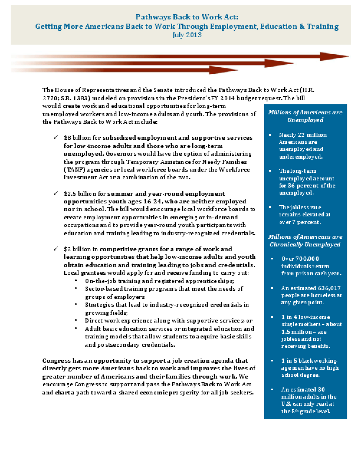 Pathways Back to Work Act: Getting More Americans Back to Work Through Employment, Education and Training