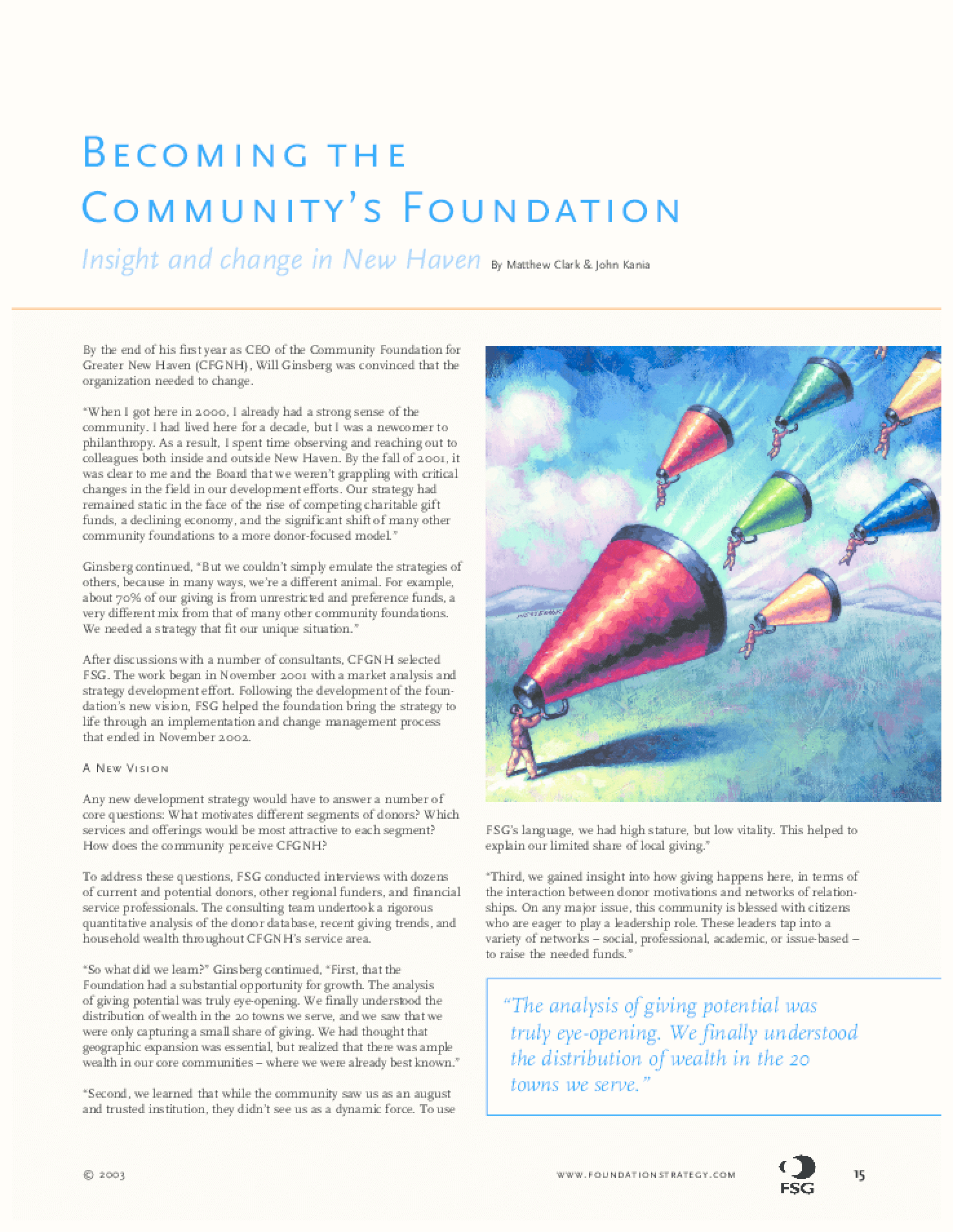 Becoming the Community's Foundation: Insight and Change in New Haven