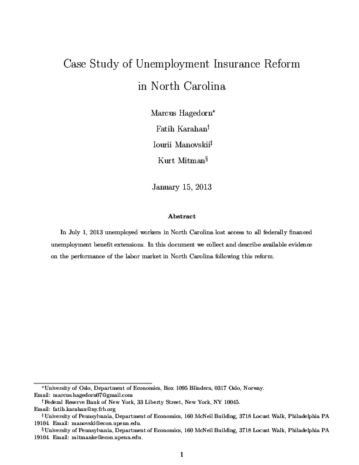 Case Study of Unemployment Insurance Reform in North Carolina