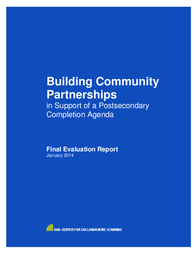 Building Community Partnerships in Support of a Postsecondary Completion Agenda