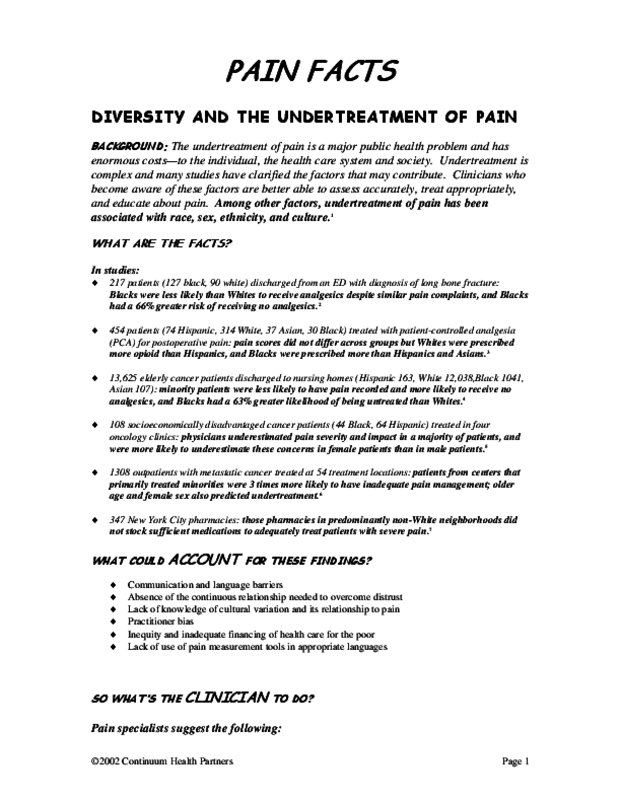 Diversity and the Undertreatment of Pain