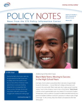 Black Male Teens: Moving to Success in the High School Years