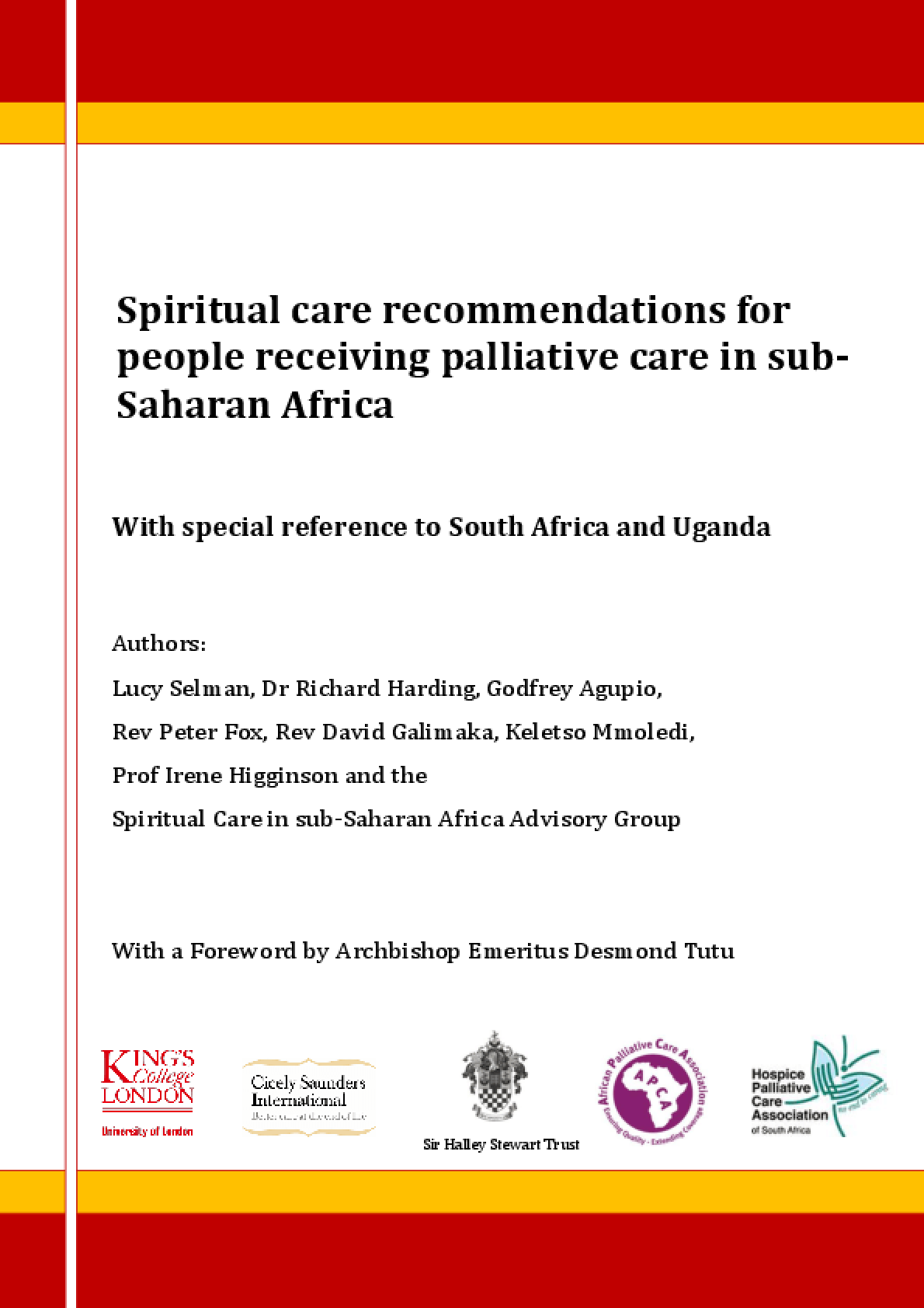 Spiritual Care Recommendations for People Receiving Palliative Care in sub-Saharan Africa