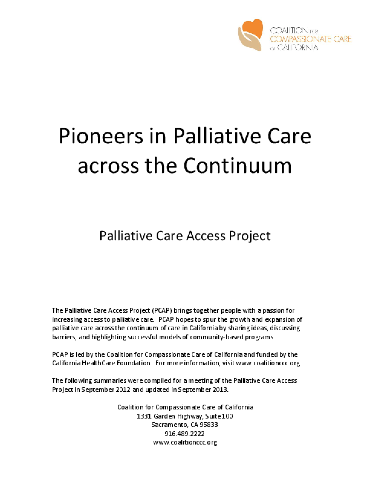 Pioneers in Palliative Care across the Continuum