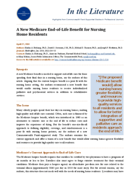 A New Medicare End-of-Life Benefit for Nursing Home Residents