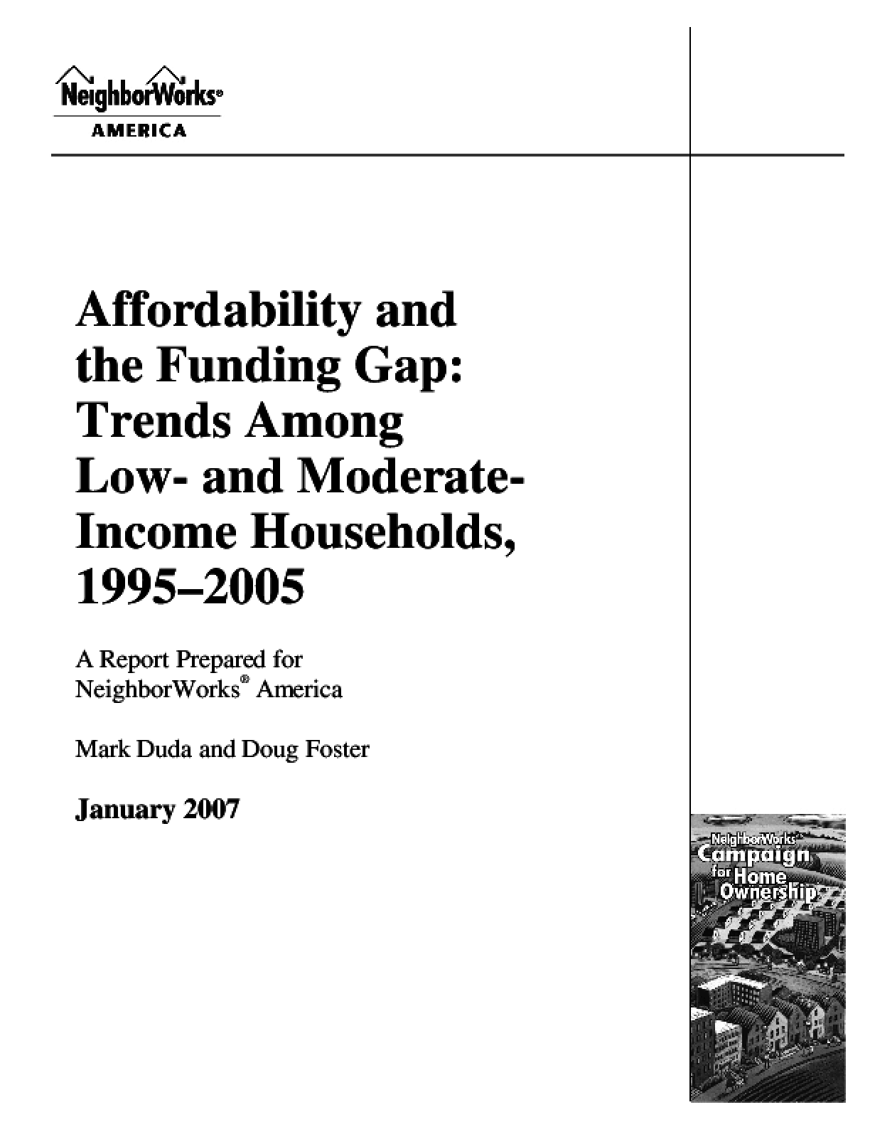 Affordability and the Funding Gap Trends among Low-and Moderate-Income Households, 1995-2005