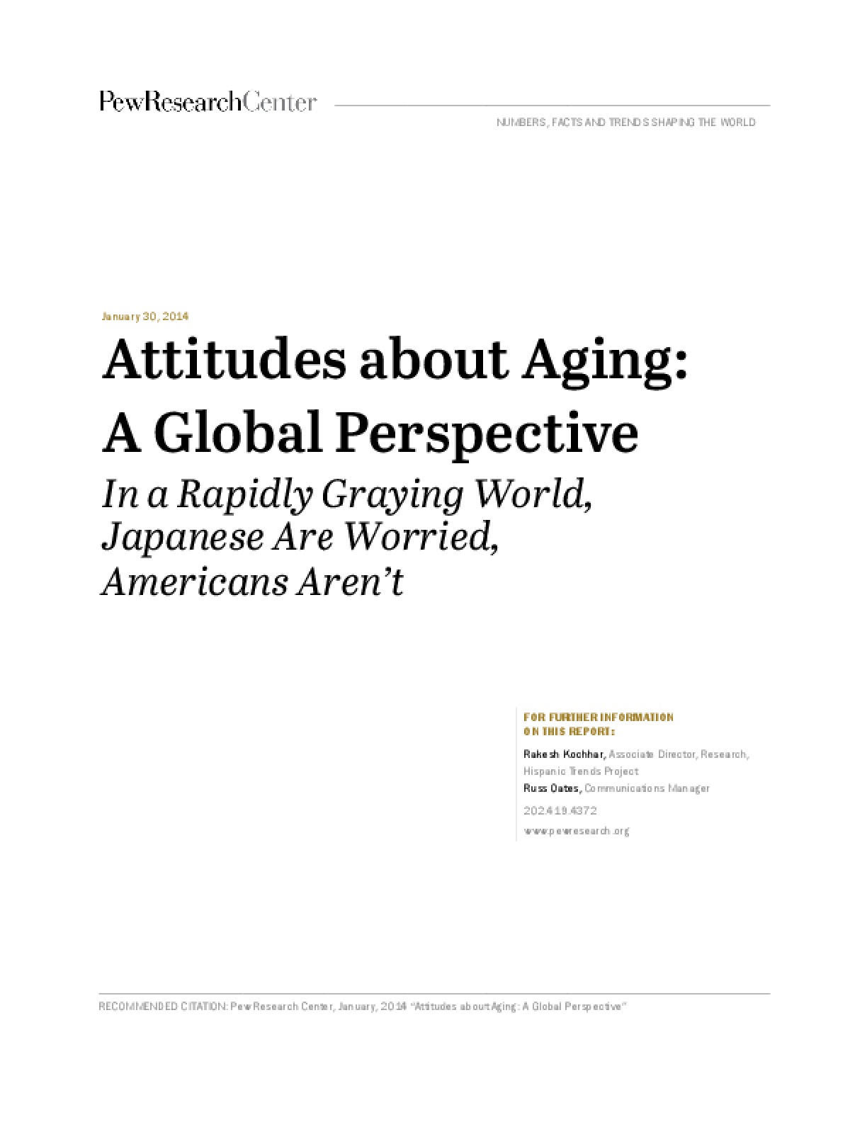 Attitudes About Aging: A Global Perspective