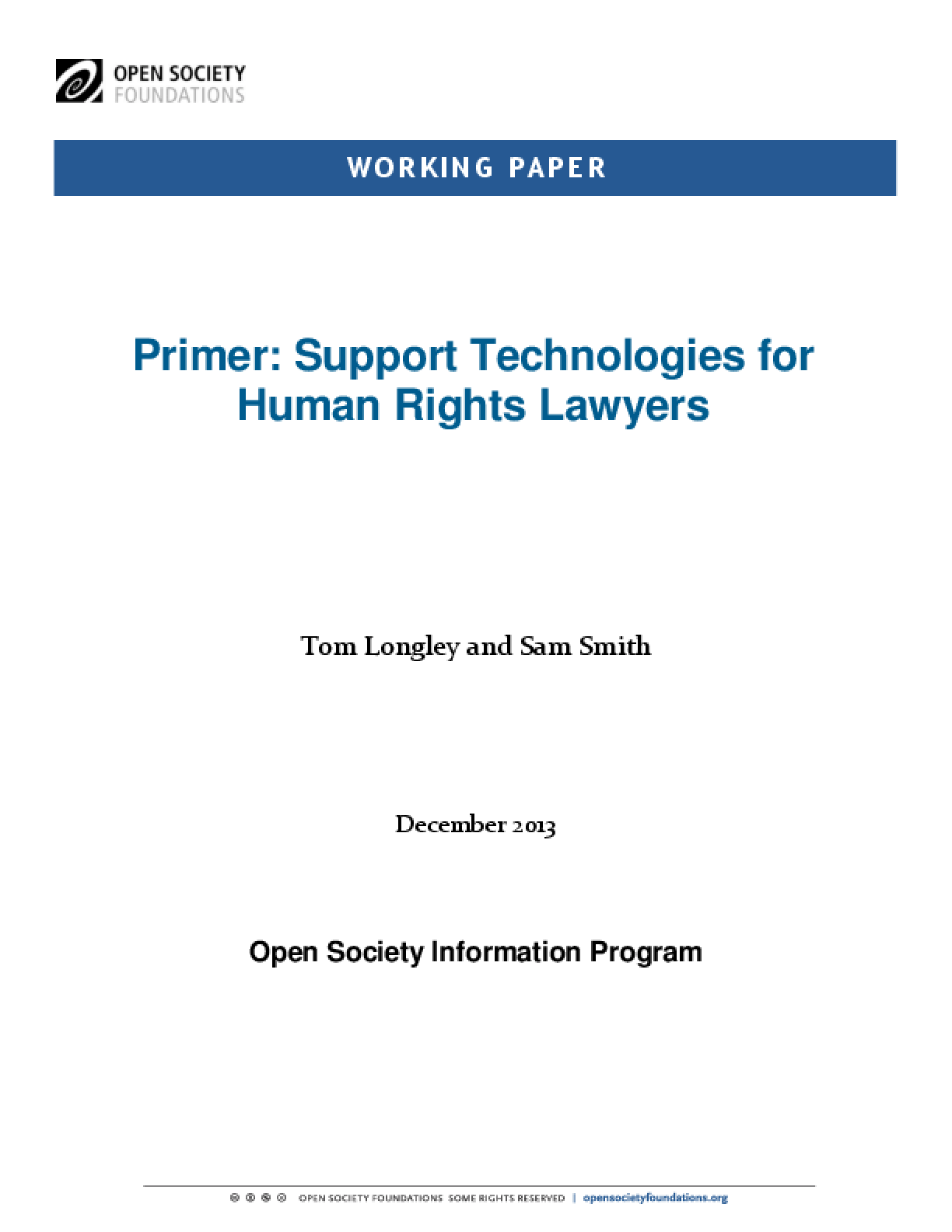 Primer: Support Technologies for Human Rights Lawyers