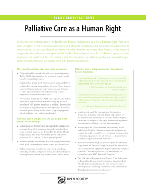Palliative Care as a Human Right: Fact Sheet