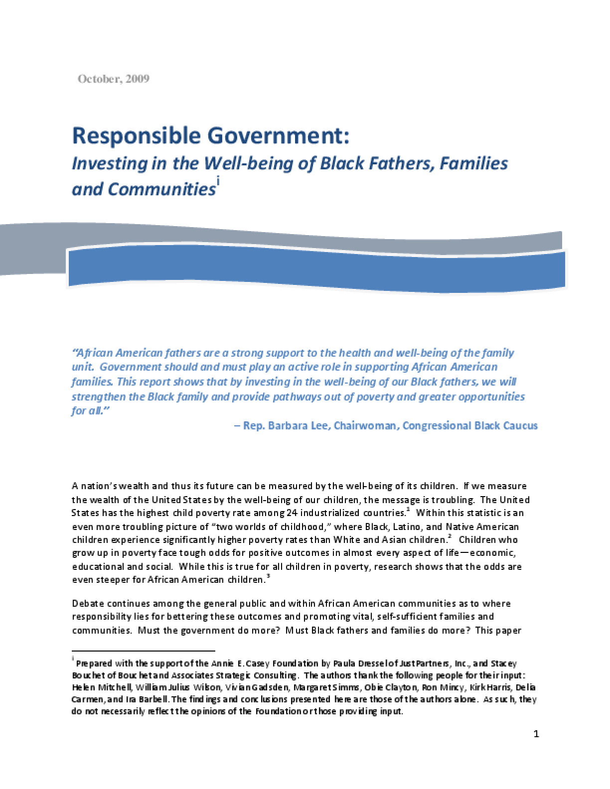 Responsible Government: Investing in the Well-Being of Black Fathers, Families and Communities