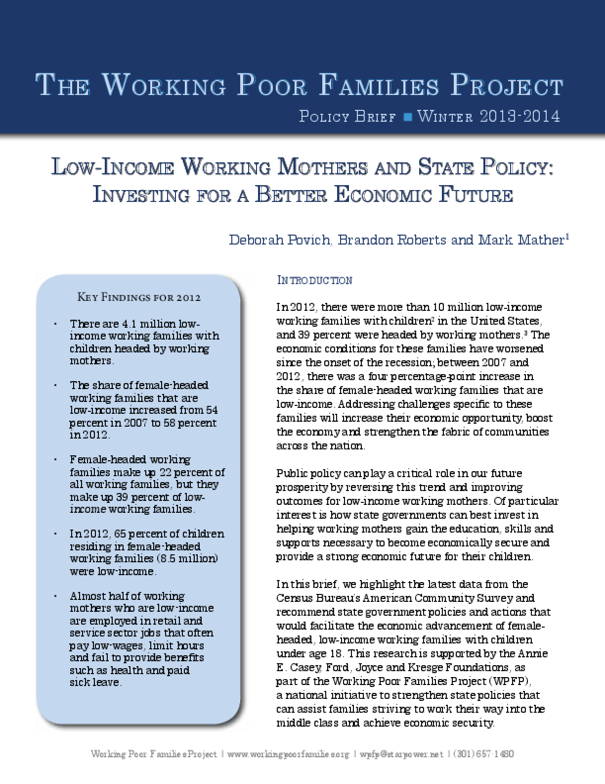 Low-Income Working Mothers and State Policy: Investing for a Better Economic Future