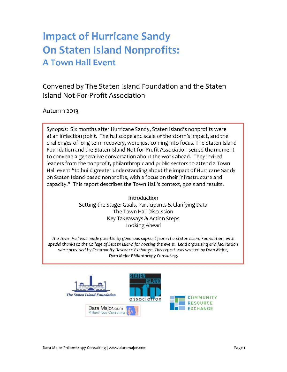 Impact of Hurricane Sandy on Staten Island Nonprofits: A Town Hall Event