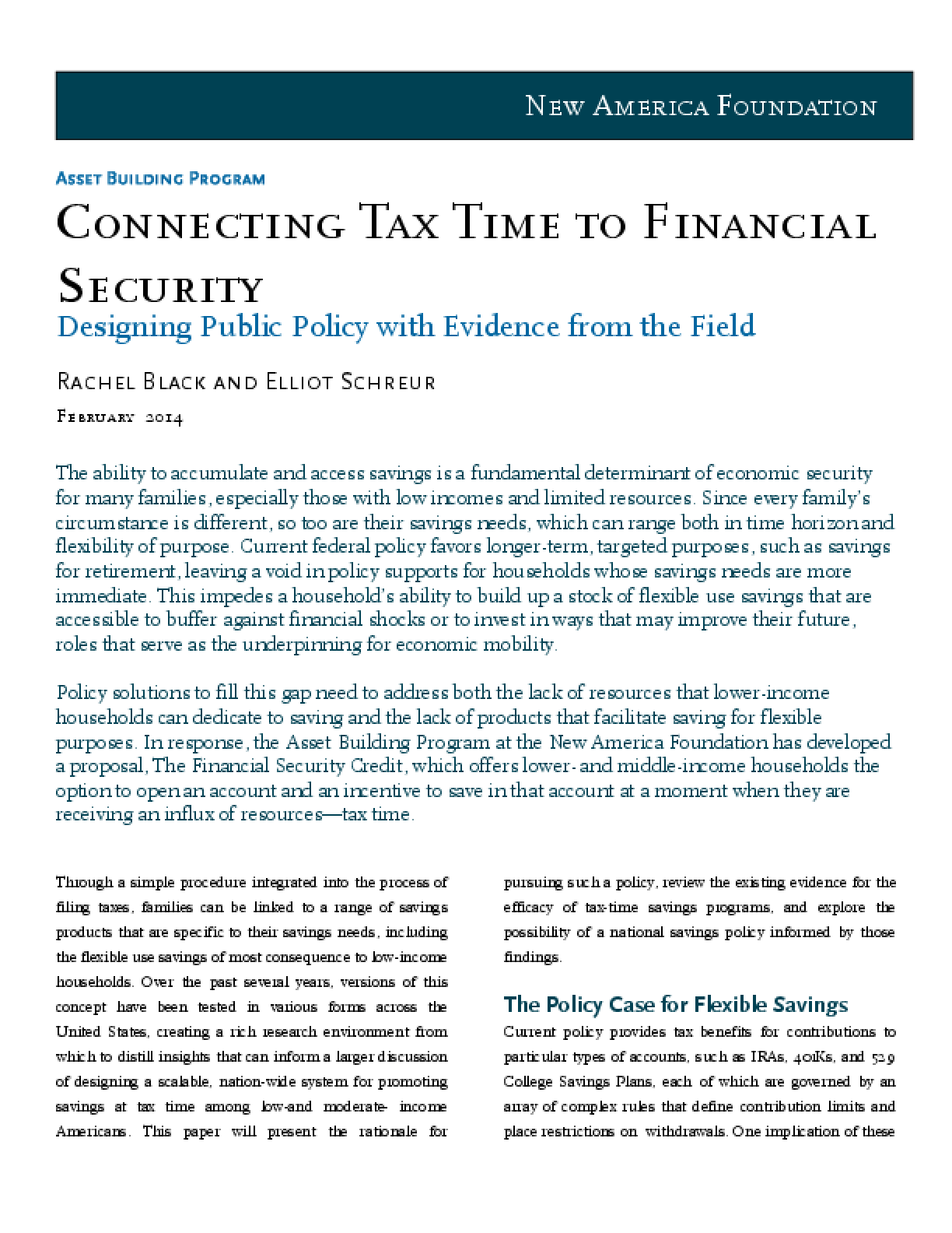 Connecting Tax Time to Financial Security: Designing Public Policy with Evidence from the Field