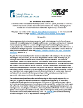 The Workforce Investment Act: Homeless System Innovation & Recommendations