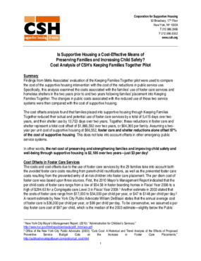 Is Supportive Housing a Cost-Effective Means of Preserving Families and Increasing Child Safety? Cost Analysis of CSH's Keeping Families Together Pilot