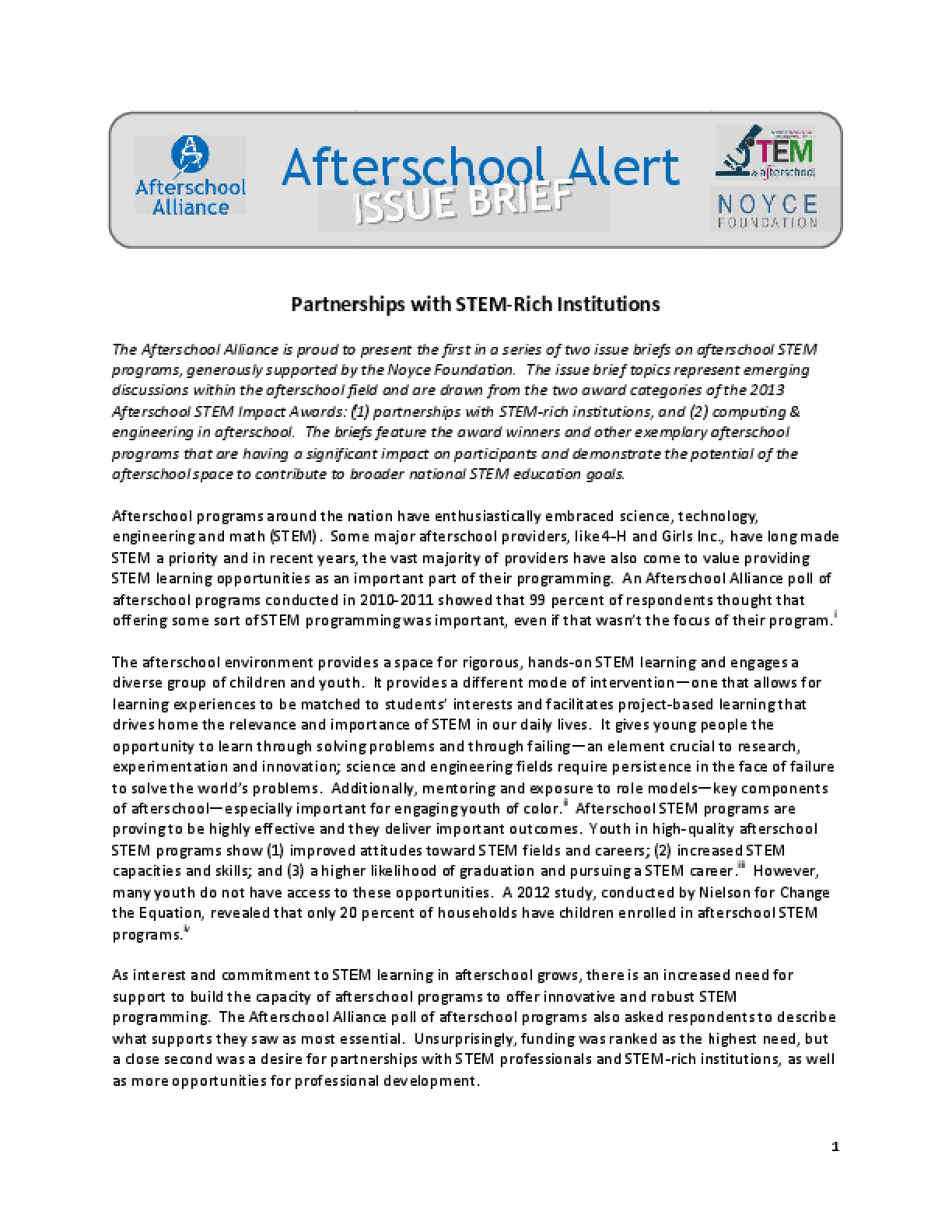 Afterschool Alert: Partnerships with STEM-Rich Institutions