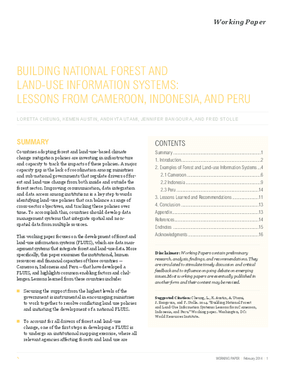 Building National Forest and Land-Use Information Systems: Lessons from Cameroon, Indonesia, and Peru