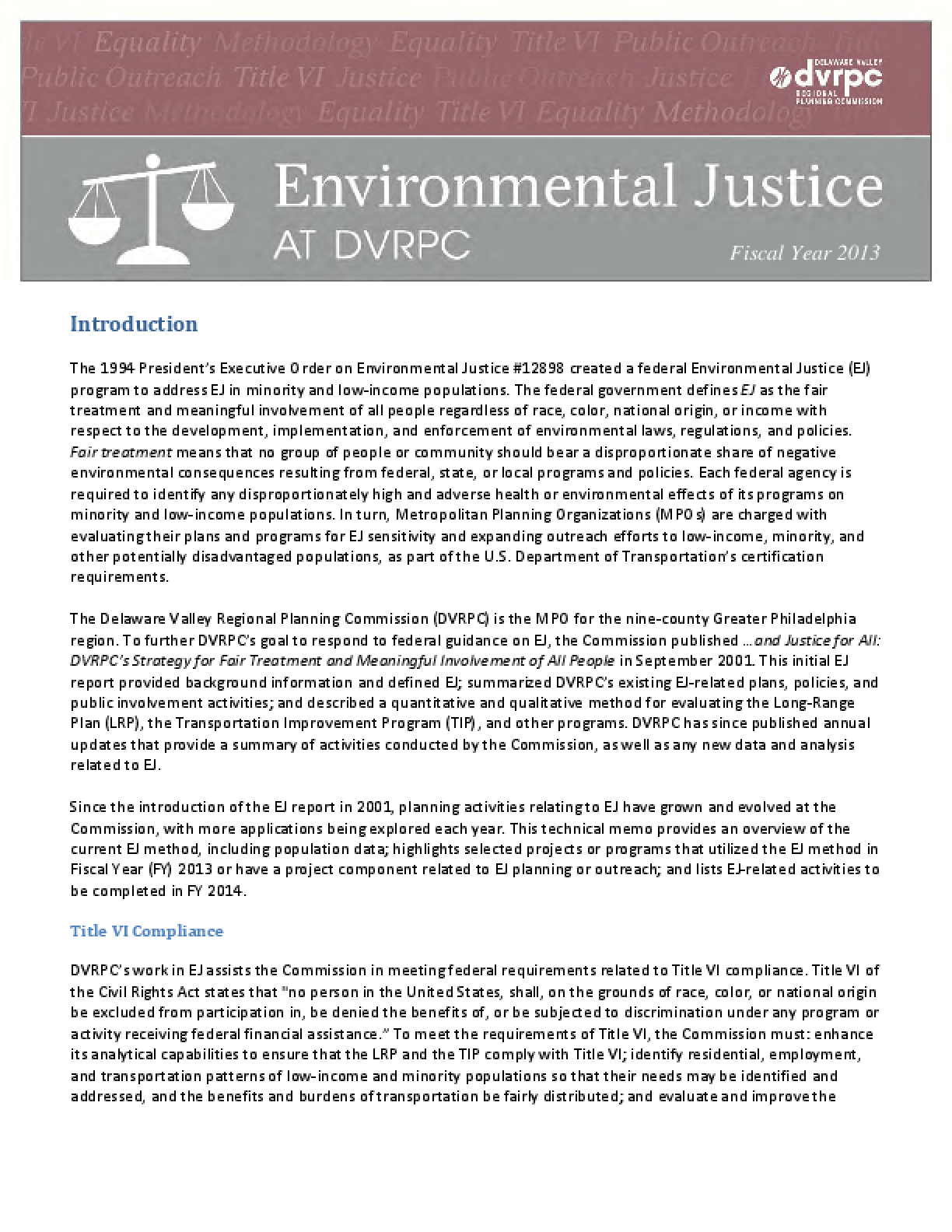 Environmental Justice at DVRPC - FY2013
