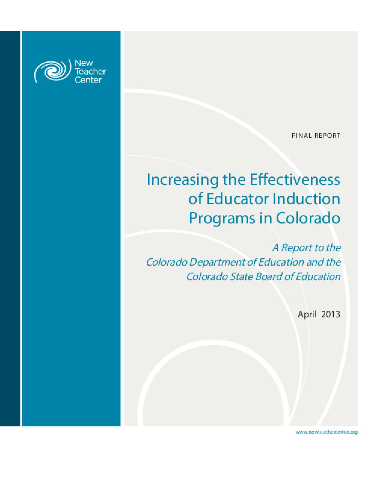 Increasing the Effectiveness of Educator Induction Programs in Colorado