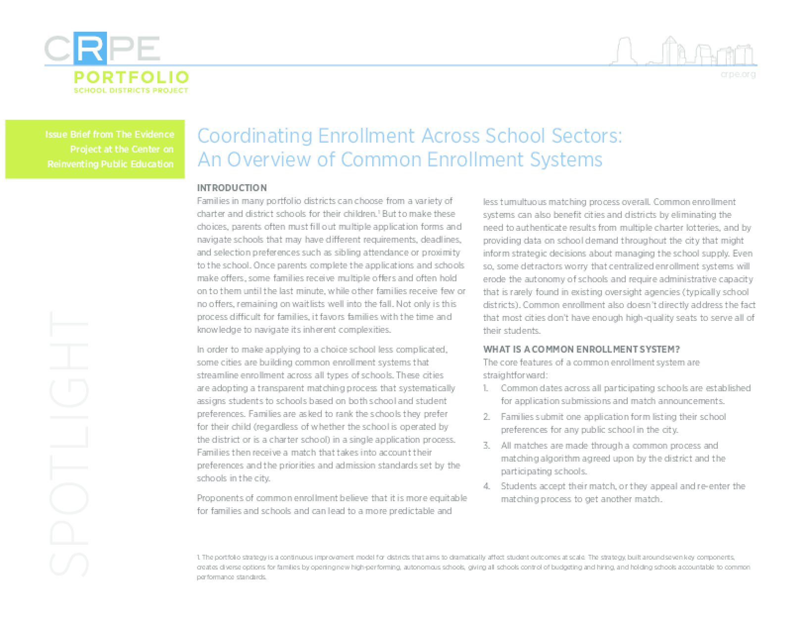 Coordinating Enrollment Across School Sectors: An Overview of Common Enrollment Systems