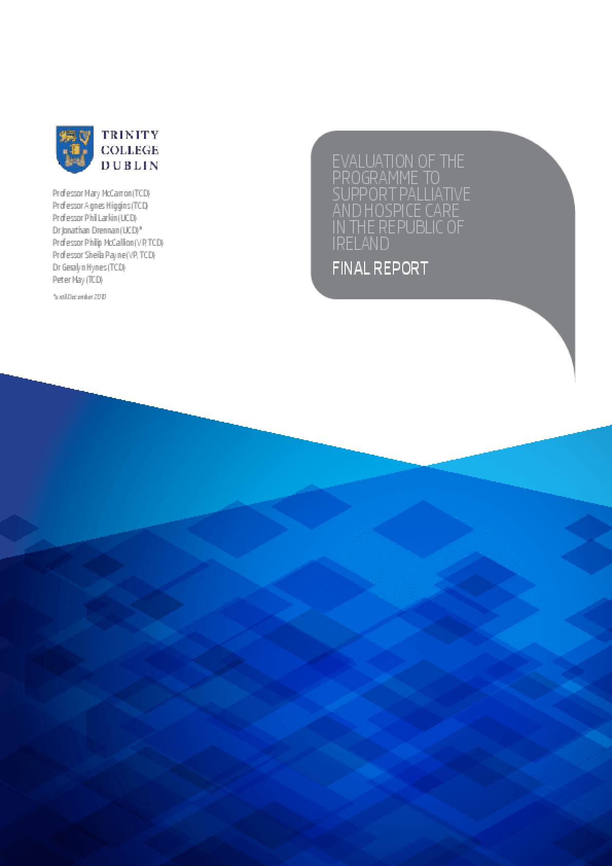 Evaluation: Programme to Support Palliative and Hospice Care in the Republic of Ireland, Final Report