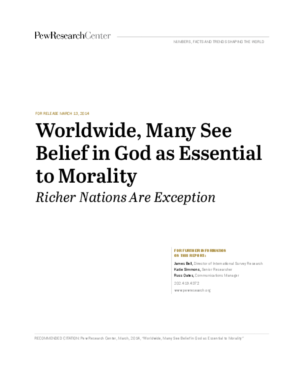 Worldwide, Many See Belief in God as Essential to Morality