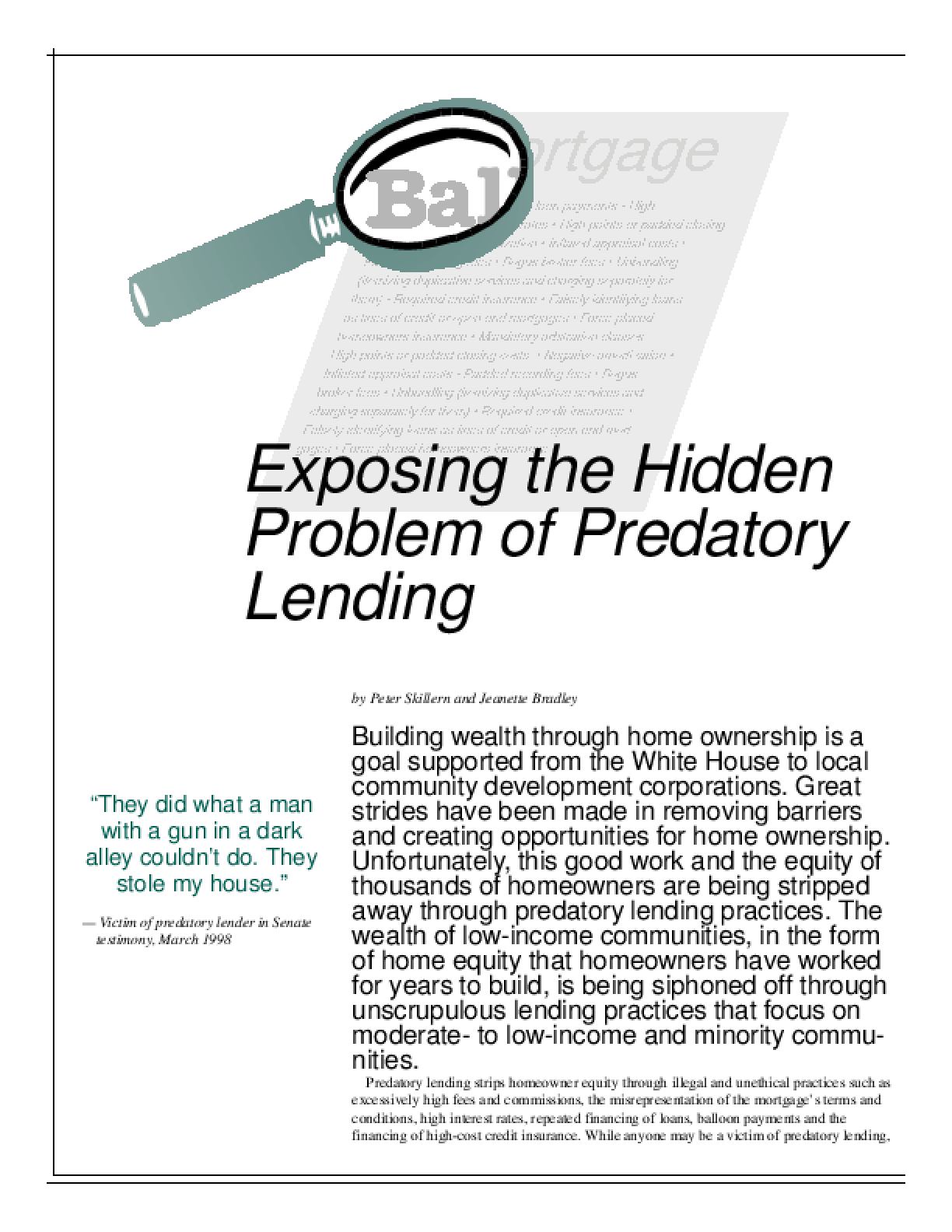 Exposing Predatory Lending - Special Issue of NeighborWorks Journal