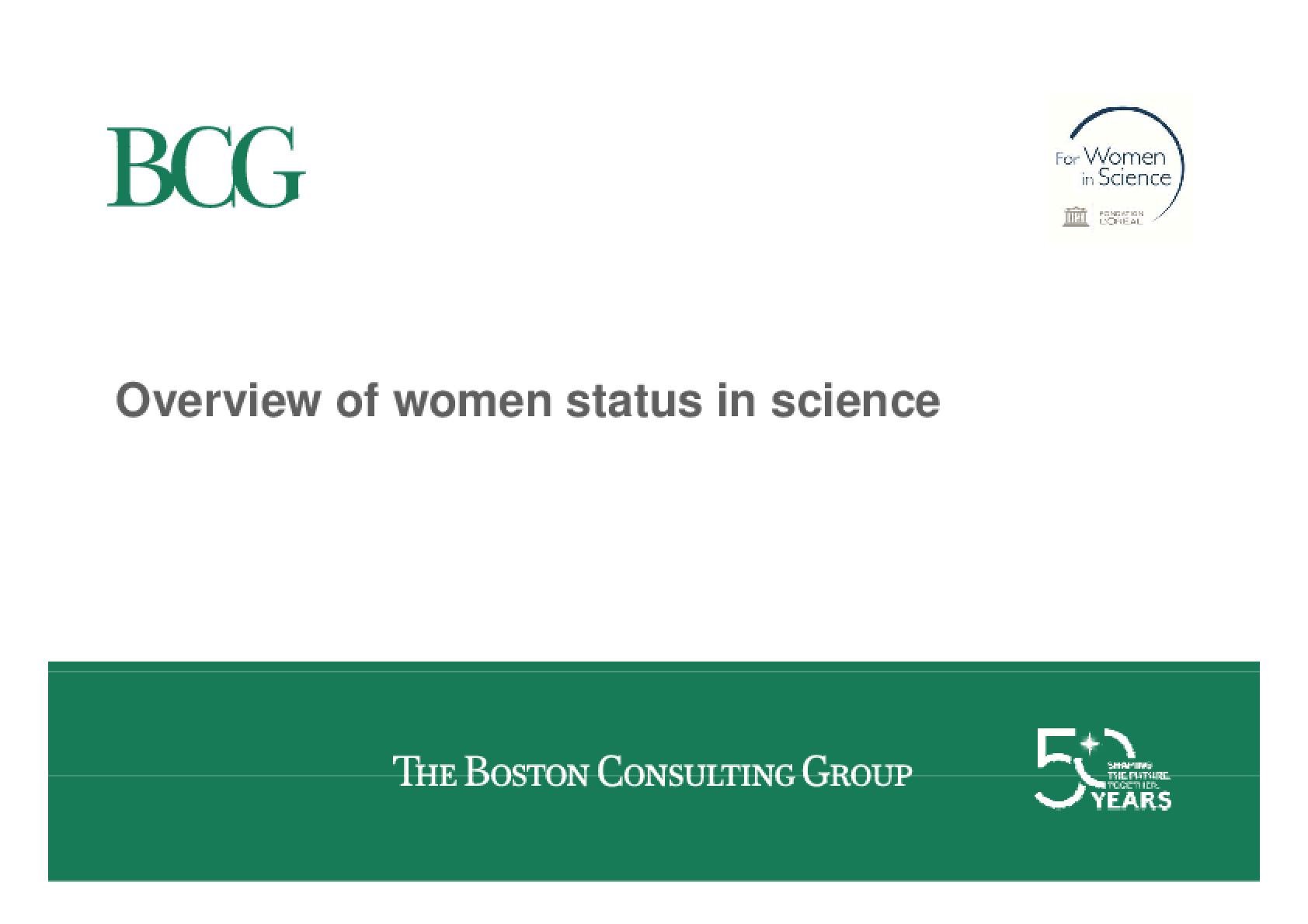 Overview of Women Status in Science
