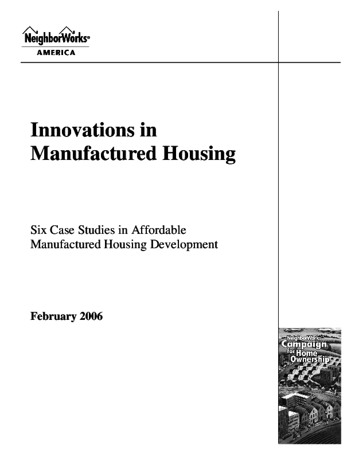 Innovations in Manufactured Housing: Six Case Studies in Affordable Manufactured Housing Development