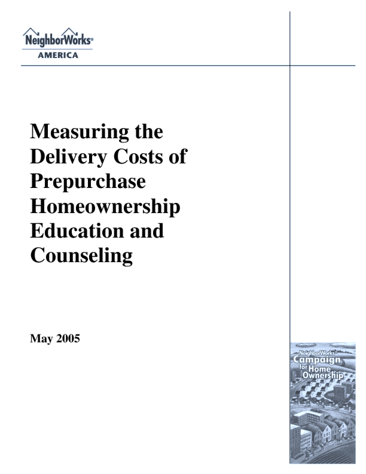 Measuring the Delivery Costs of Prepurchase Homeownership Education and Counseling