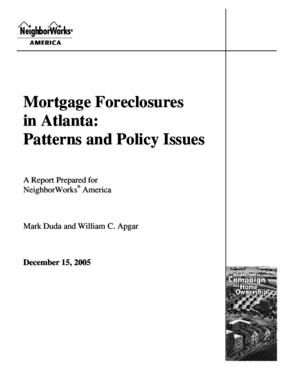 Mortgage Foreclosures in Atlanta: Patterns and Policy Issues
