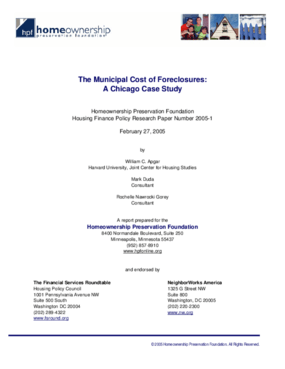 The Municipal Cost of Foreclosure: A Chicago Case Study