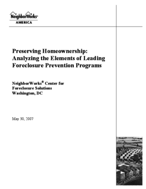 Preserving Homeownership: Analyzing the Elements of Leading Foreclosure Prevention Programs