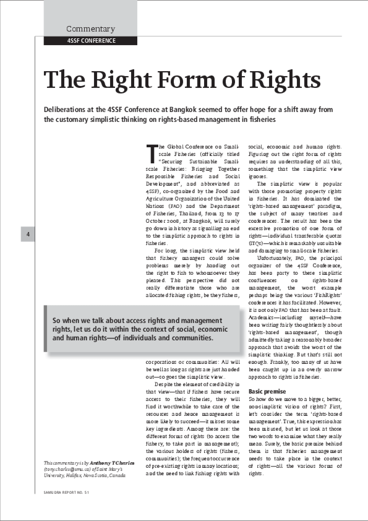 The Right Form of Rights: Commentary, 4SSF Conference - IssueLab